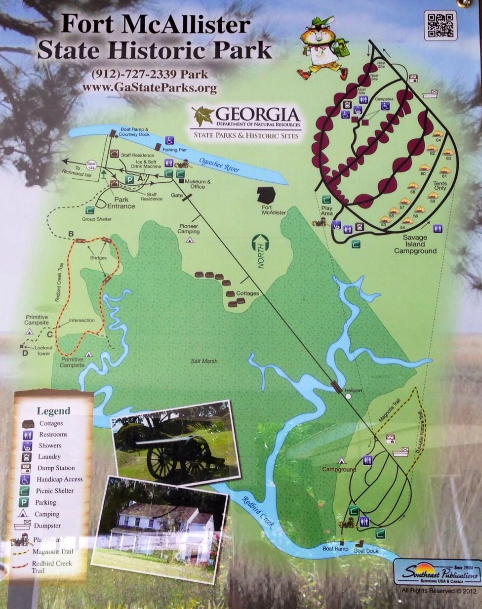 Map Of Fort Mcallister State Historic Park State Park Camping Georgia State Parks State Parks