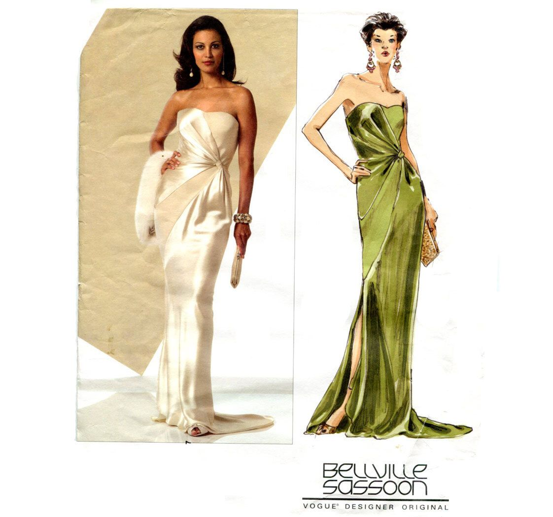 Strapless Evening Gown Pattern Belleville Sassoon Vogue 2929 Formal ...
