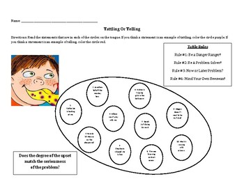 A Bad Case Of Tattle Tongue Tattling Vs Telling Handout Coloring