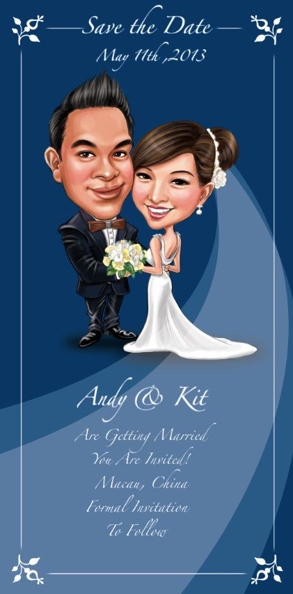 custom personalized save the date wedding invitations design custom caricatures illustration from photos