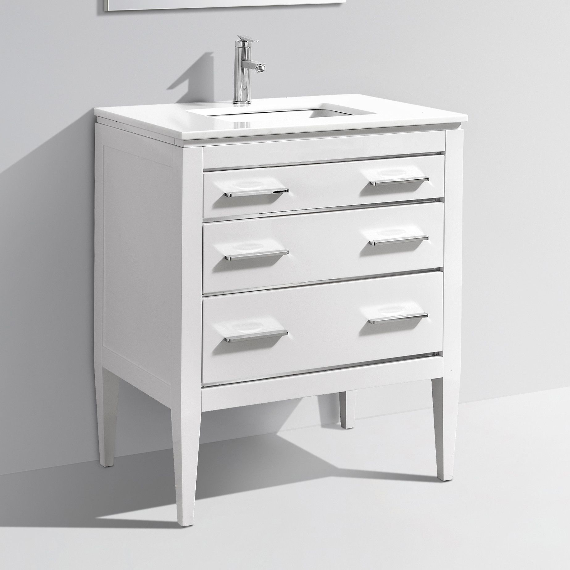 Modern Lux 30'' High Gloss White Vanity W/ Quartz Counter