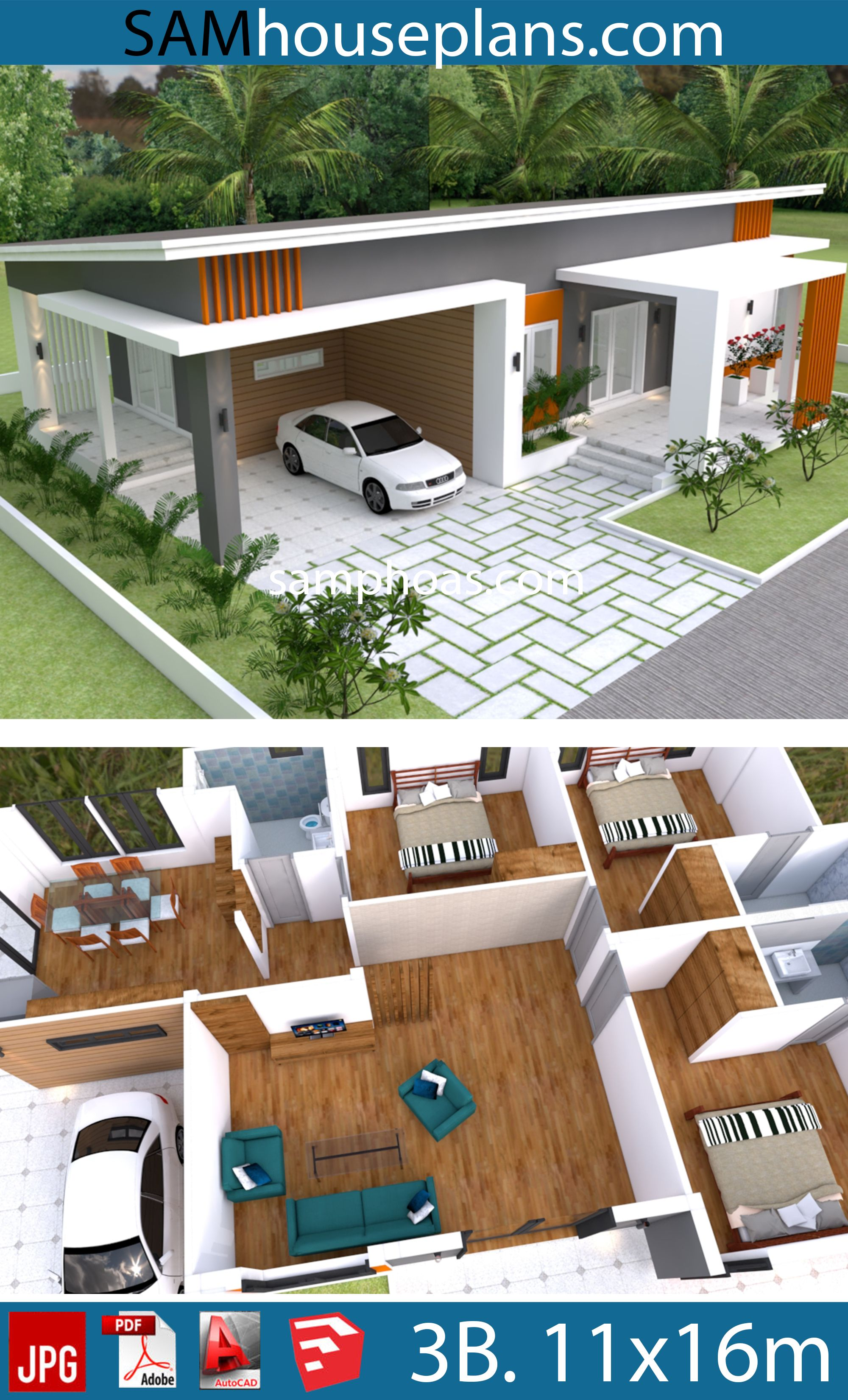 Home Plan 11x16m With 3 Bedrooms House Plans Free Downloads Architectural House Plans House Plan Gallery Bedroom House Plans