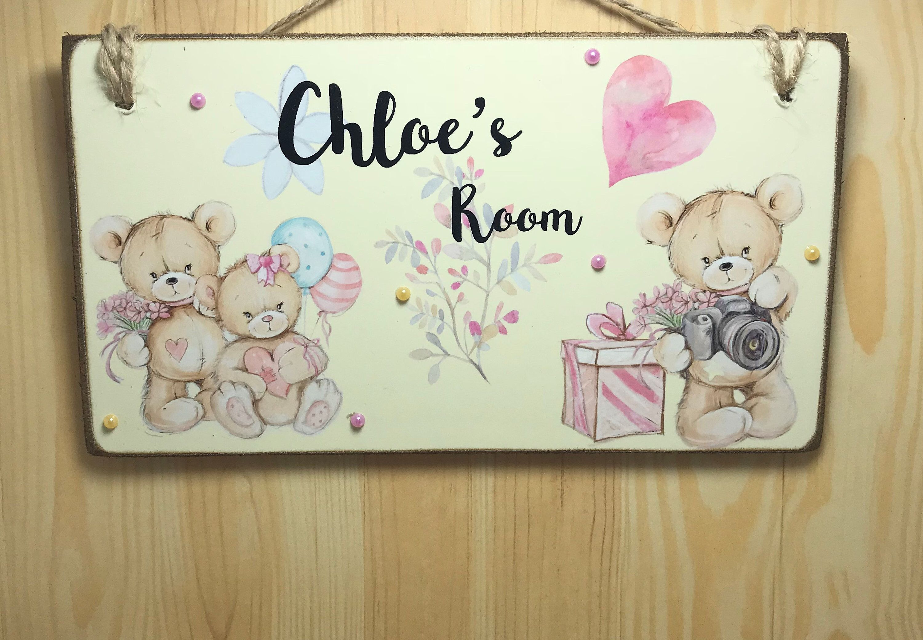 Personalised Children S Teddy Bear Wooden Room Sign Room