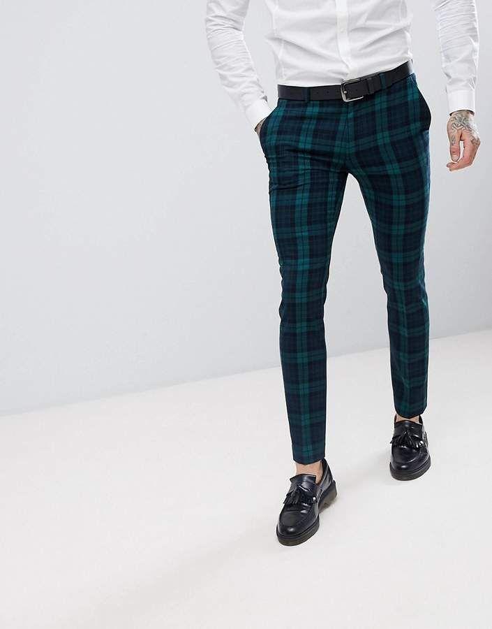 0da760e0cada0 ASOS Super Skinny Suit Pants In Blackwatch Plaid