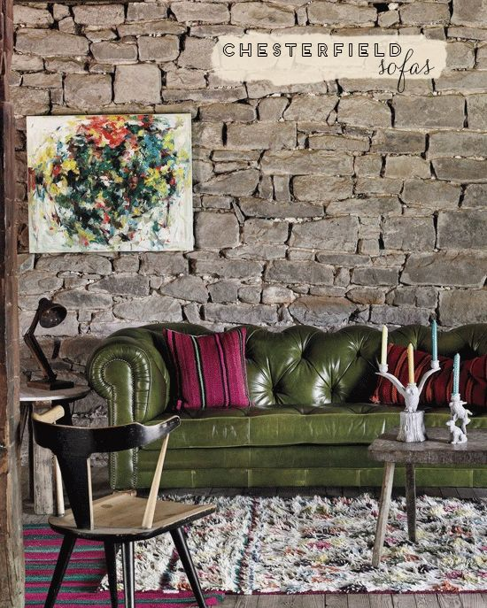 Love The Basil Colored Sofa Against The Gray Tone Wall Fantastic Olive Green Chesterfield Sofa Green Sofa Green Rooms Green Chesterfield Sofa