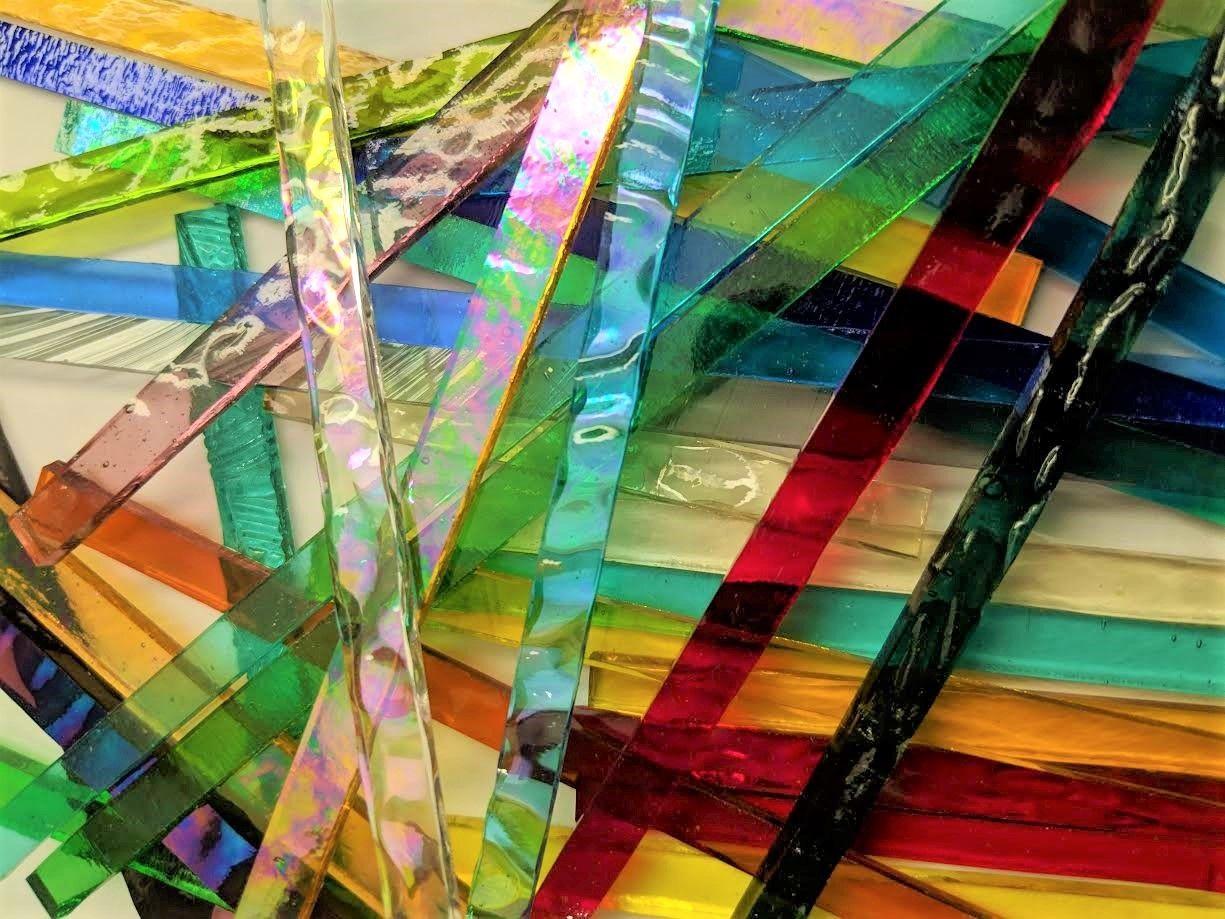 NEW 100 pieces of BLUE GREEN GLITZ  MULTI-COLOR Glitter Mosaic Glass Art Tiles