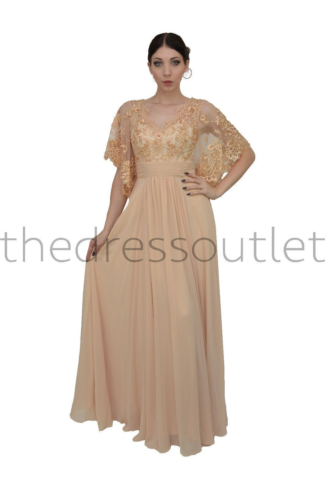 eef8505f943 An elegant long formal gown with gorgeous kimono sleeves and a lace bust.  The bottom is an elegant floor length skirt with beautiful movement. This  dress is ...