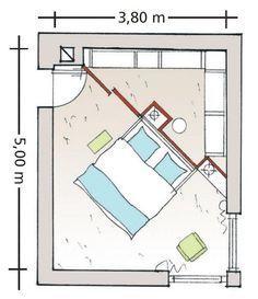 Diagonal geteiltes Schlafzimmer