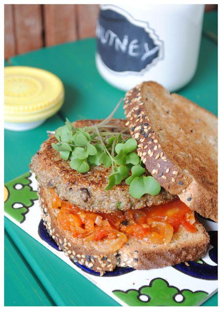 Mushroom Burgers with Tomato Chutney {Via Fifth Zalla Blog}