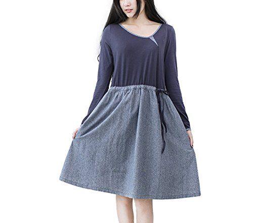 Katuo Patchwork Stripe Dress Women Cotton Dress Loose Dress (S) KATUO http://www.amazon.com/dp/B00QUX0O3E/ref=cm_sw_r_pi_dp_jRYsvb1Y12BWF
