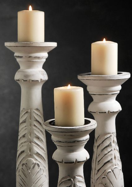 3 White Washed Wood Candle Holders 18 15 12 White washed