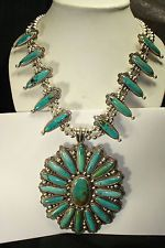 HUGE NAVAJO STERLING SILVER SQUASH BLOSSOM NECKLACE NATIVE AMERICAN DEAD PAWN