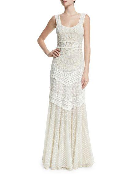 Alice Olivia Kimberly Sleeveless Embroidered Maxi Dress Cream
