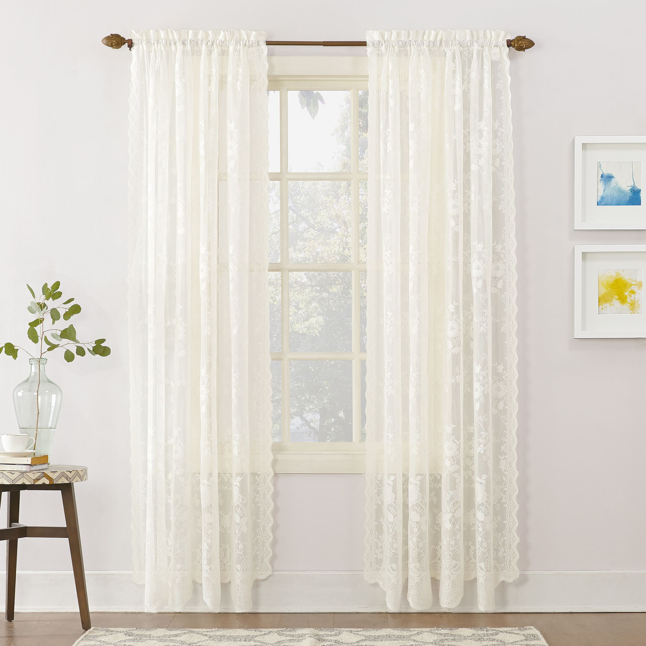 Home In 2020 White Paneling Panel Curtains Lace Window