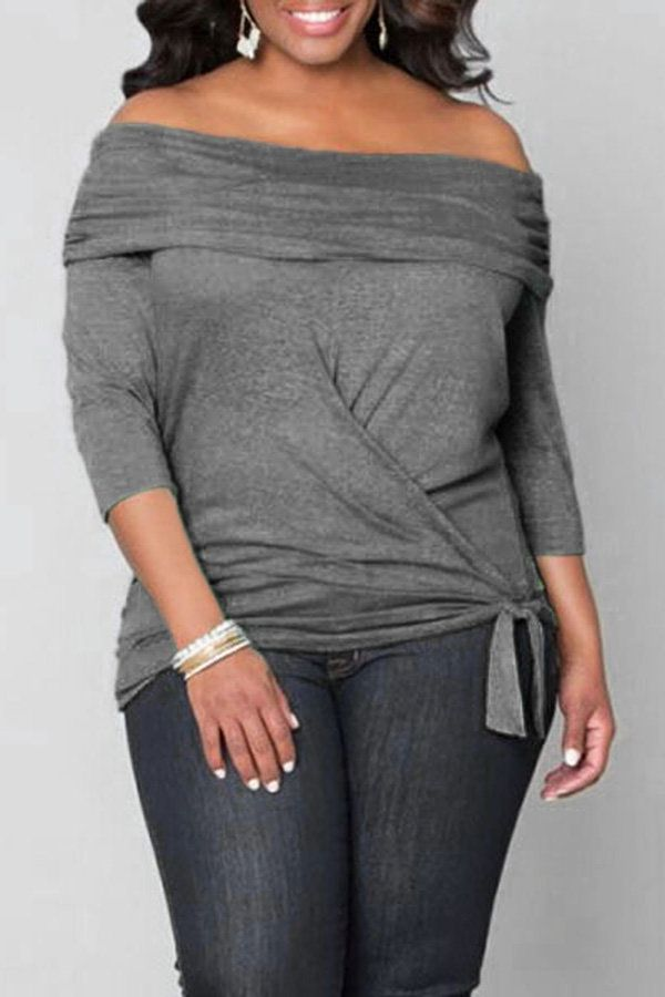 Photo of Plus Size Dark Grey Off Shoulder Blouse with Tie Waist – US$18.99 -YOINS