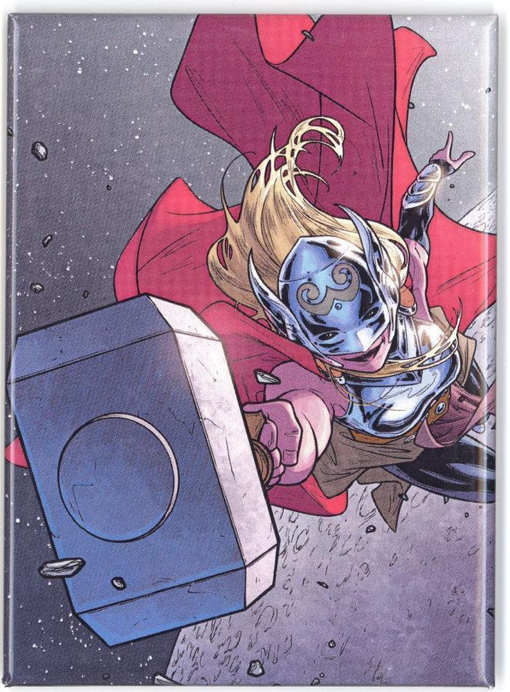 thor 2014 with hammer comic book cover magnet female comic book