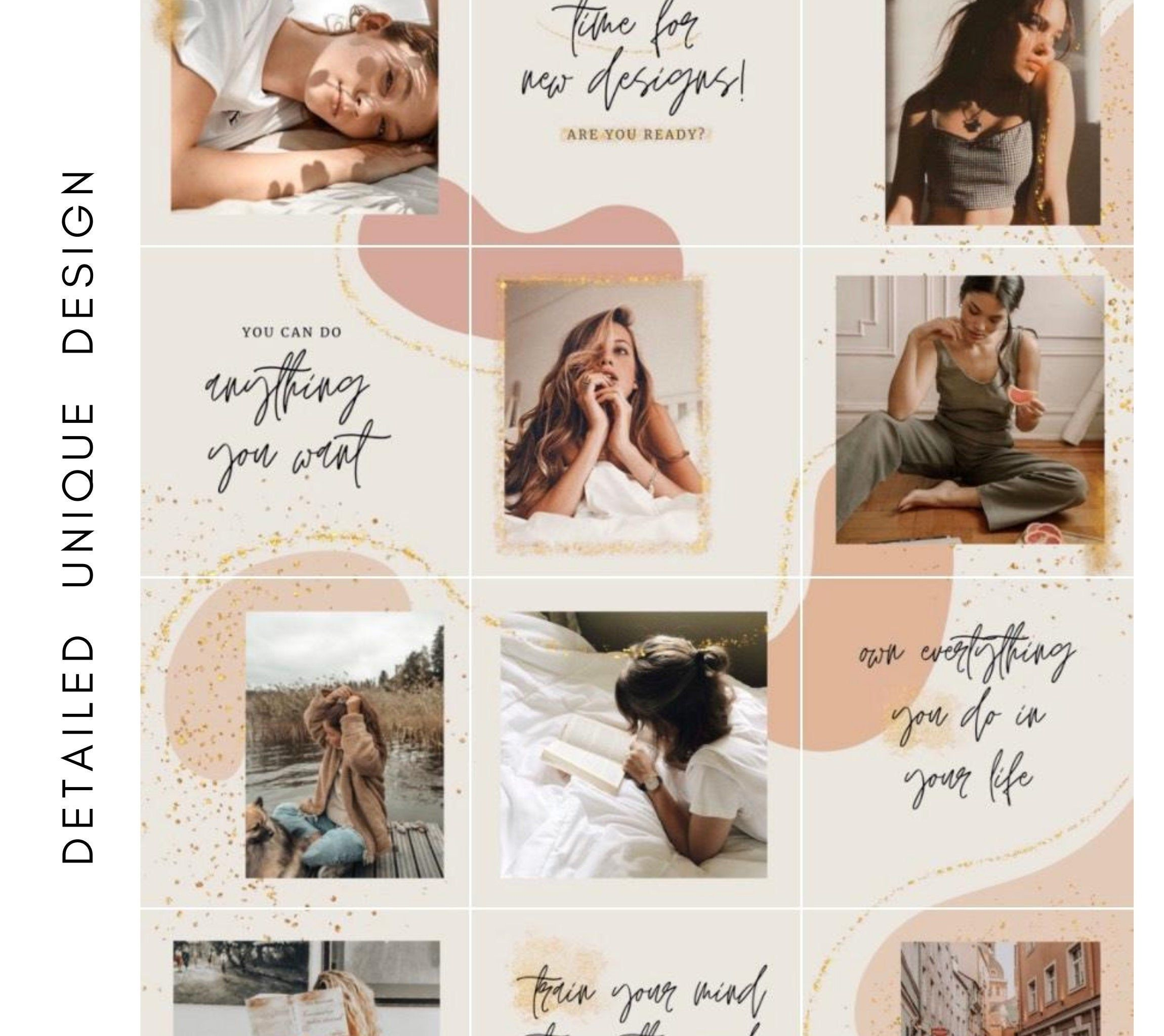 Instagram Puzzle Feed Template For Canva Sparks Golden Etsy In 2021 Instagram Template Instagram Instagram Grid