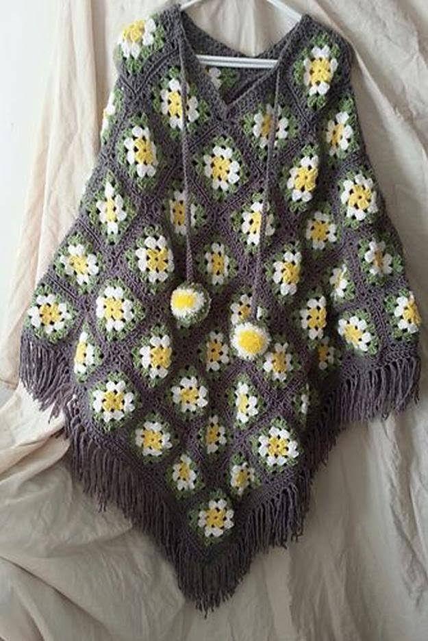 Granny Square Poncho I 16 Easy Crochet Poncho Patterns For Women