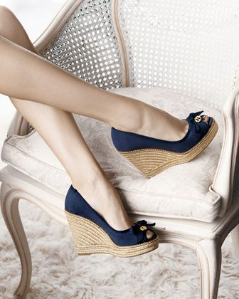 0fe8cd4951d Jackie Peep-Toe Espadrille Wedge, Navy | Haute Mommy Style | Peep ...