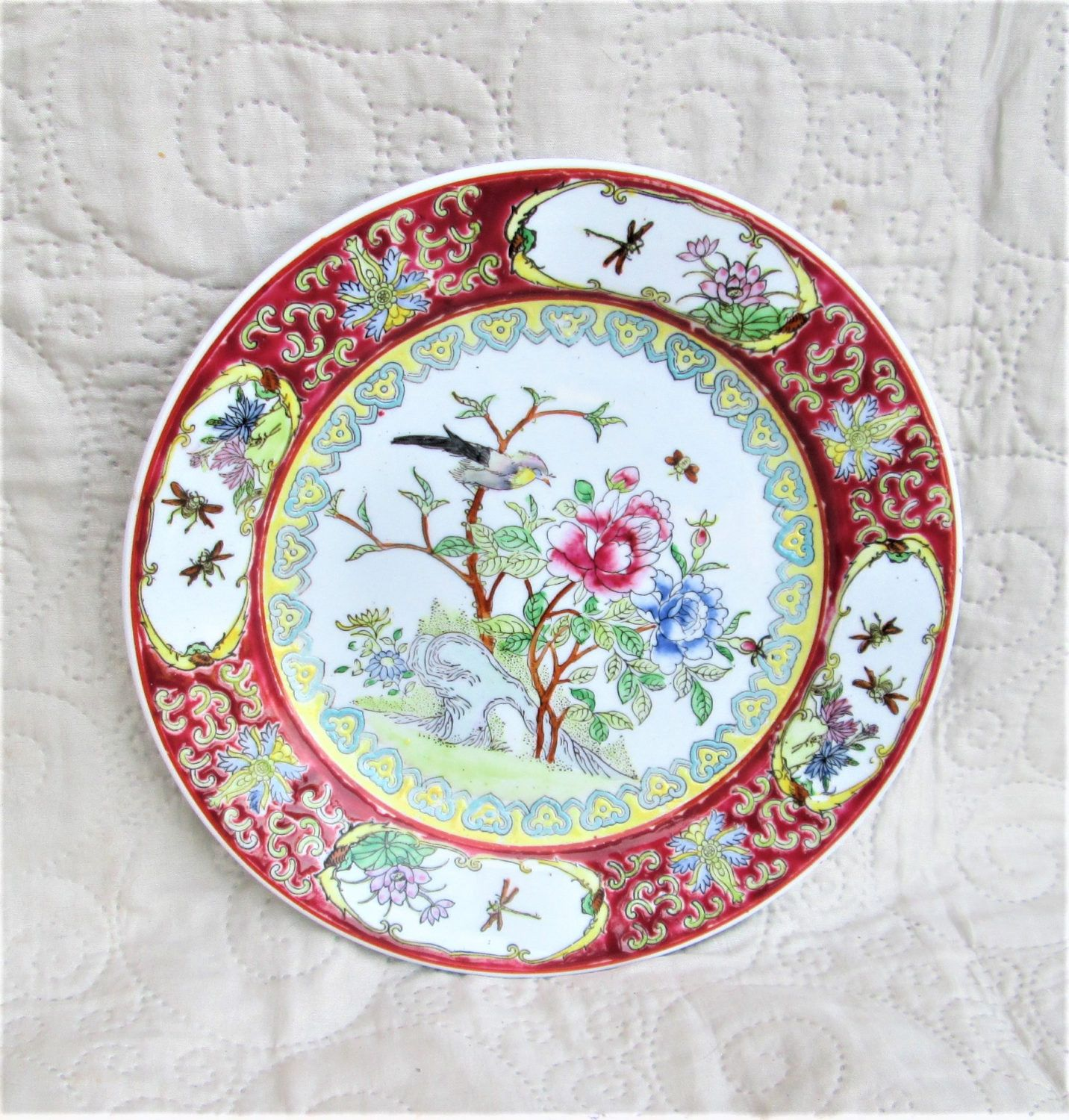 Vintage 10 Hand painted Asian Plate circa 1950/'s-60/'s