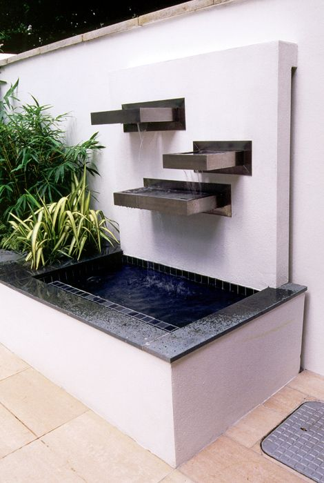 contemporary water feature EXTERIOR DESIGN Pinterest Fuentes