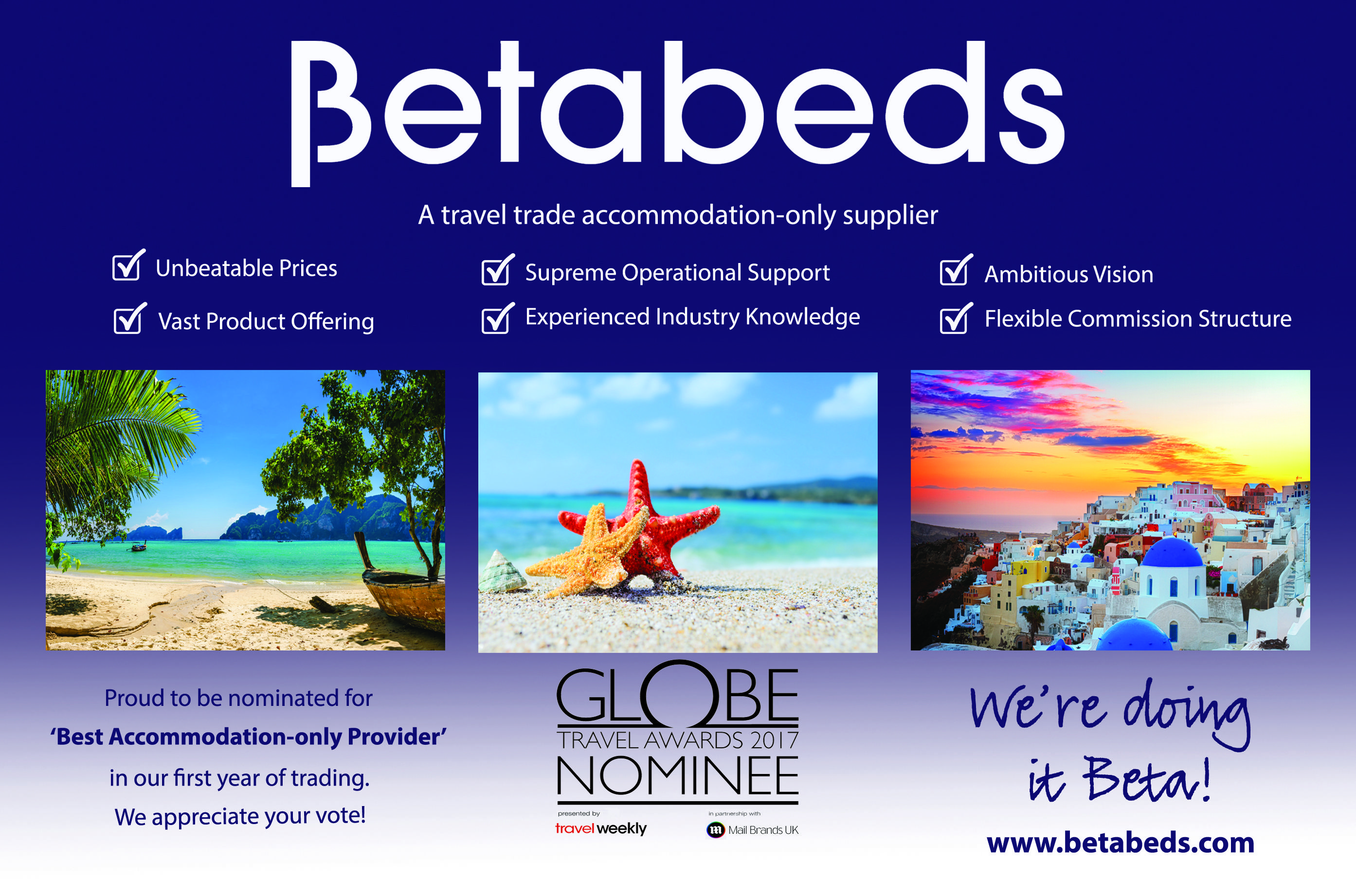 Proud to be nominated for 'Best Accommodation-only Provider' in our first year of trading at the Globe Travel Awards 2017! We appreciate your vote! Voting closes 5pm on 7th December 2016. We're doing it Beta!