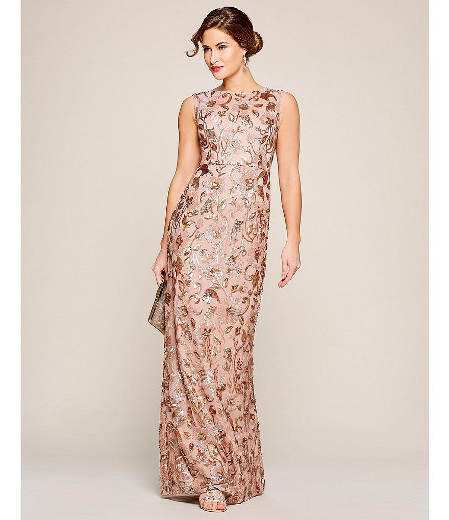 Adrianna Papell Long Floral Sequin Dress Long Sequin Dress Sequin Dress Dresses