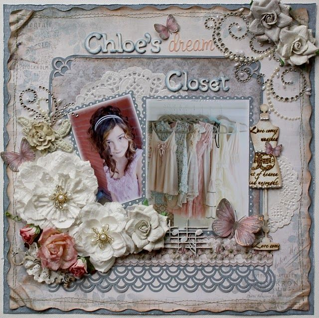 Another scrapbook page I made using Scrap That's Sept. kit featuring Pion designs paper and Dusty Attic Chipboard....about my dd's shabby chic taste.