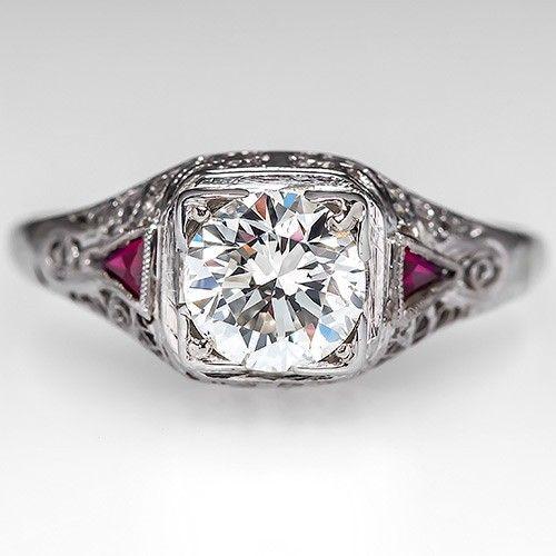 Vintage Diamond Filigree Engagement Ring w/ Ruby Accents 19K White Gold -  EraGem
