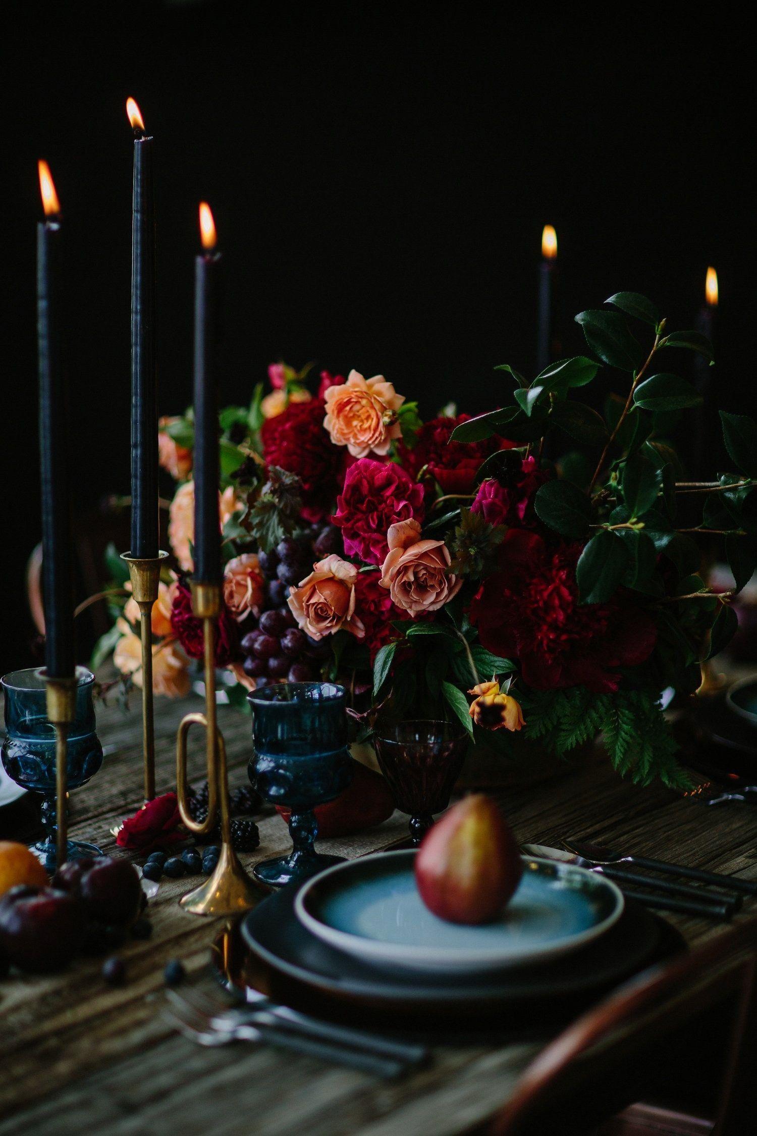 Winter Wedding Inspiration with Jewel Tones  Black Candles weddingrentals  Dark Winter Wedding Inspiration with Jewel Tones  Black Candles weddingrentals Dark Winter Wedd...