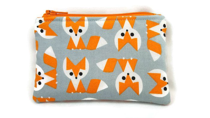 Coin Purse / Zip pouch / Change Purse / Business Card Holder / Organic Cotton / Fox Print by BonnieCustomCreation on Etsy