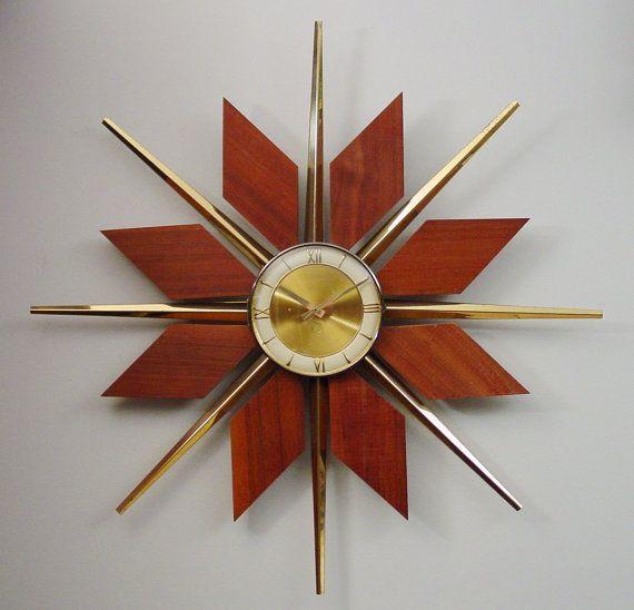 Midcentury Modern Starburst Wall Clock Teak Brass By Clubmoderne Sunburst Clock Mid Century Modern Clocks Wall Clock Modern