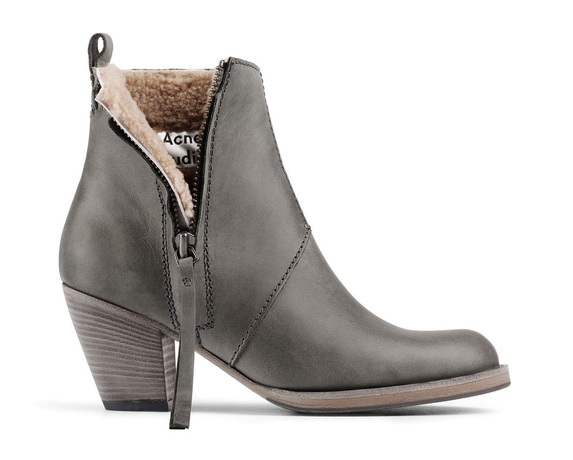 Pistol Short Fur Grey Ankle Boots Lined With Warm