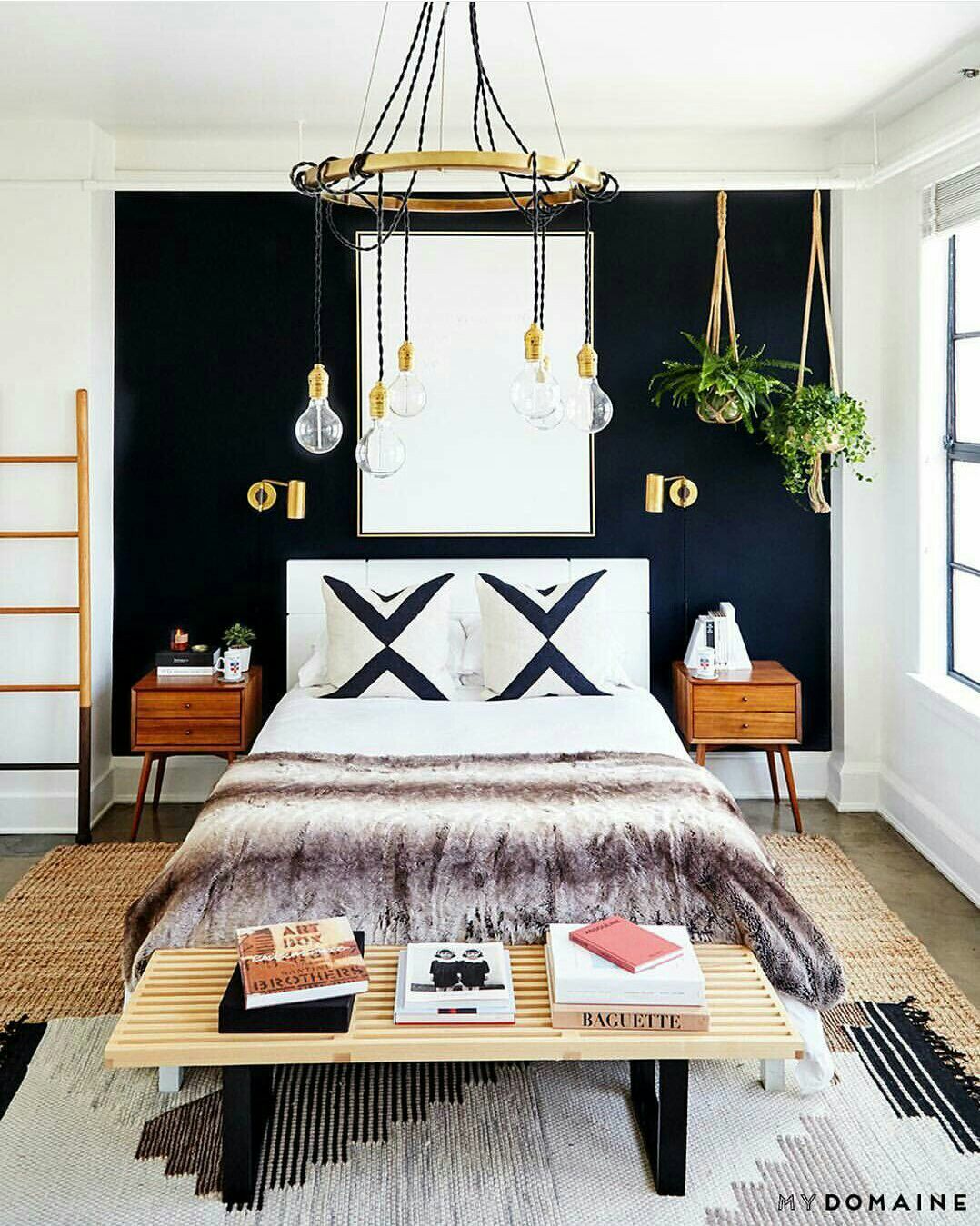 Black accent wall manly boho bedroom