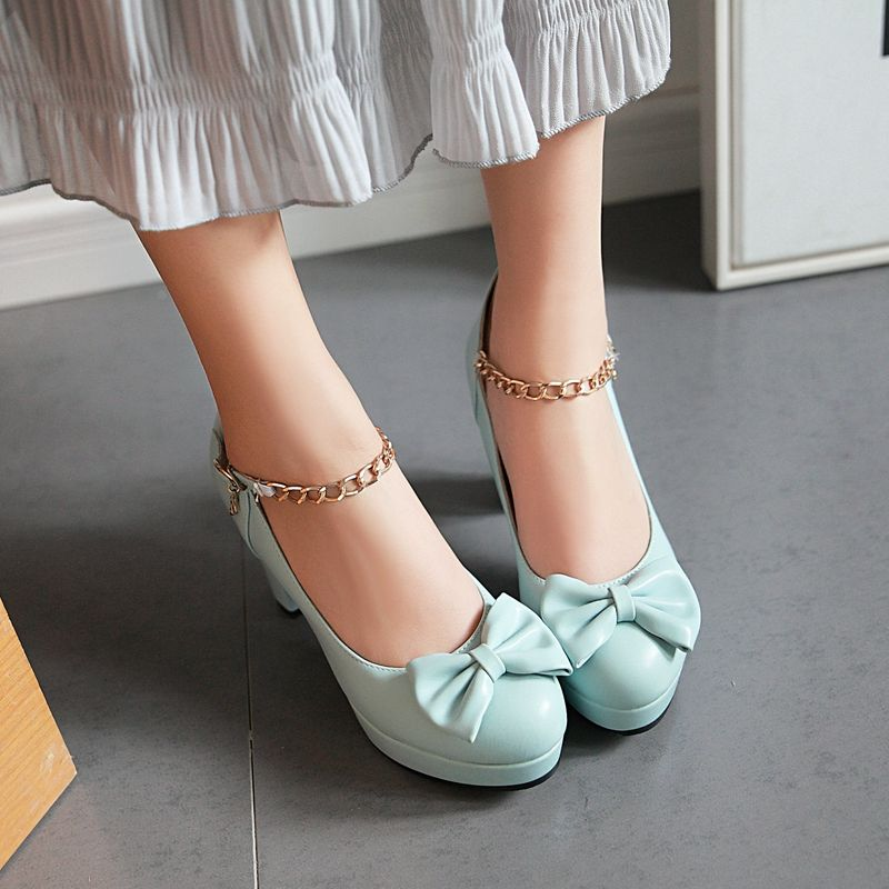 6680932f9135 Elegant Bow Chain Ankle Strap High Heels Fashion Shoes in 2019 ...