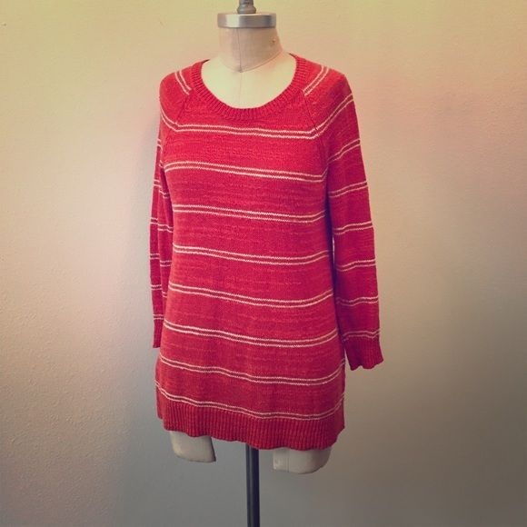 Madewell red-orange striped sweater Soft and drapey sweater from Madewell. Linen/cotton/silk blend, medium-weight knit.  Scoop neckline, 3/4 length sleeves. Vibrant red-orange color with white stripes. Size S, fits a 4/6 best. Madewell Sweaters Crew & Scoop Necks