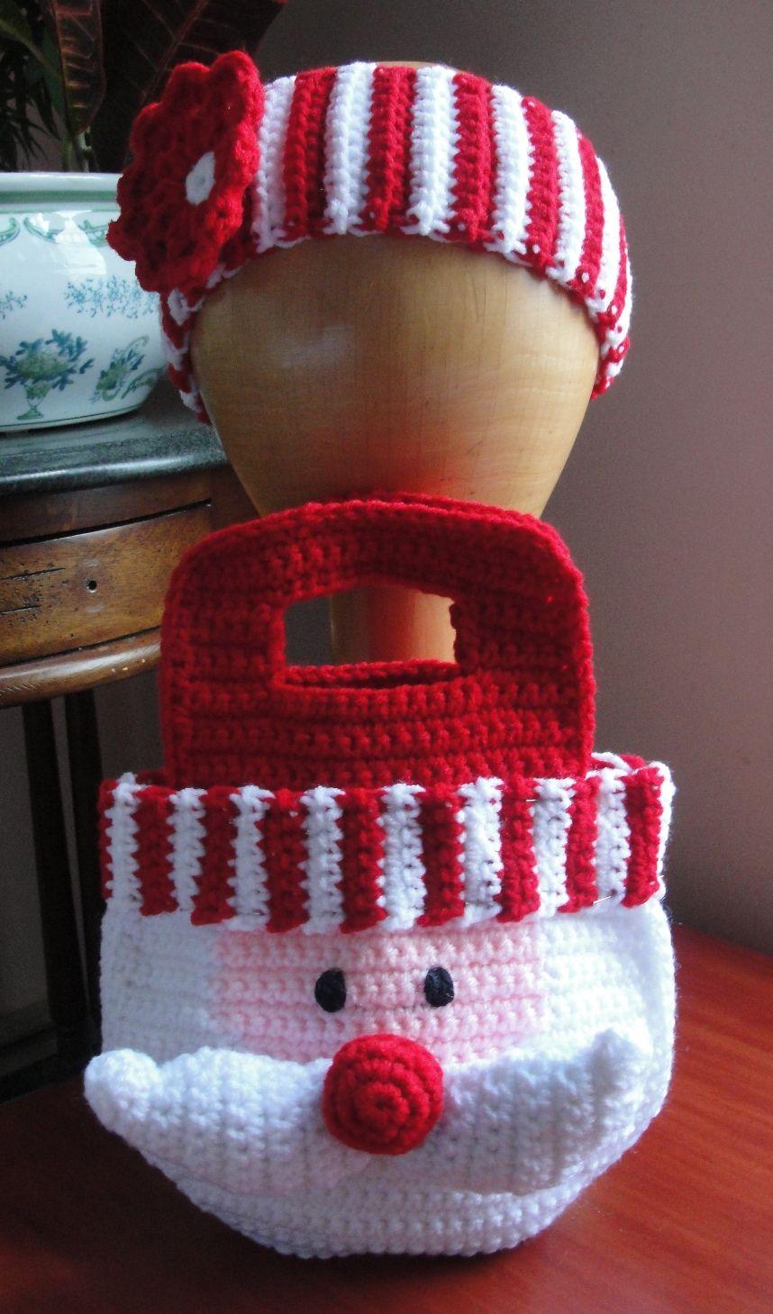 Little Girl\'s Santa Purse/Bag & Striped Flower Headband pattern by ...