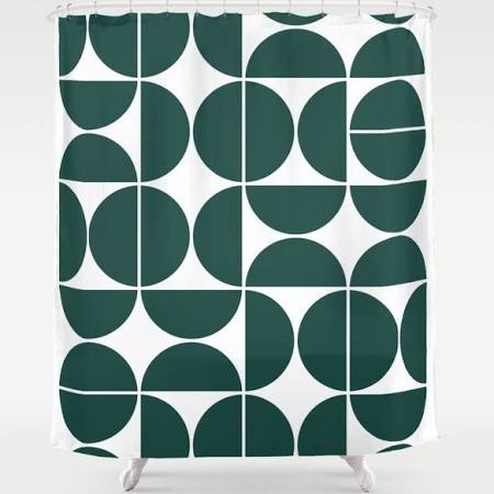 Pin By Prince Quesadilla On Bathroom Design Board In 2020 Green Shower Curtains Midcentury Modern Geometric
