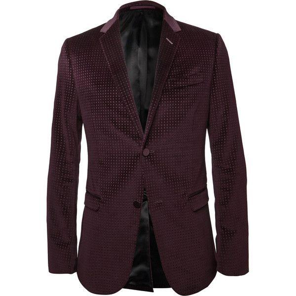 66cf97c1b05 Gucci Burgundy Embossed Velvet Blazer ( 1