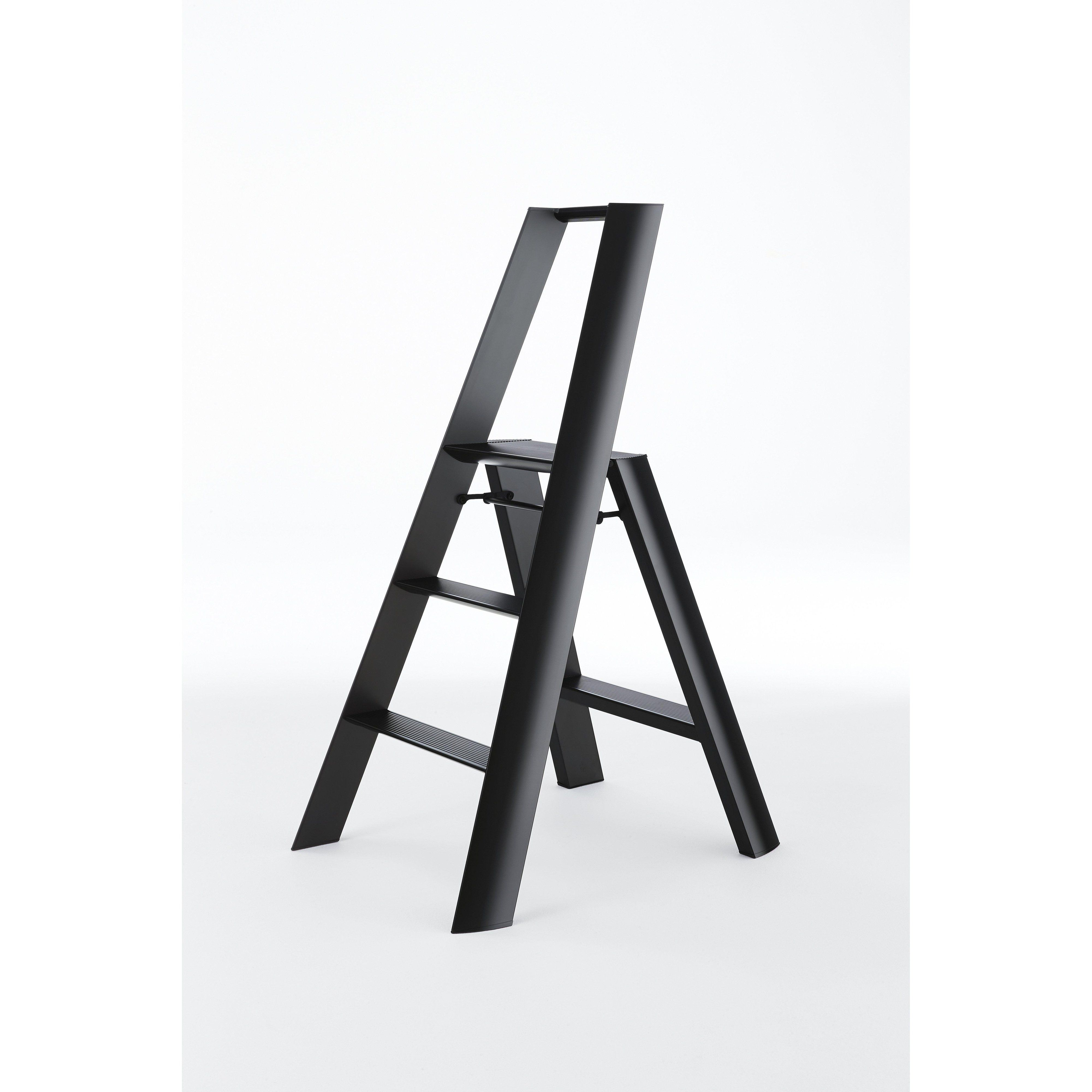 Lucano Wide 3 Step Ladder Black Step Ladders Ladder 3 Step