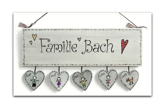 Shabby Türschild Familie Wunschtext | Craft