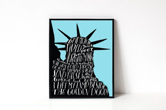Statue Of Liberty Quote 8x10 Art Print No Ban No Wall Human Rights Equality Resist Protest Refugees Welcome Aclu Donation