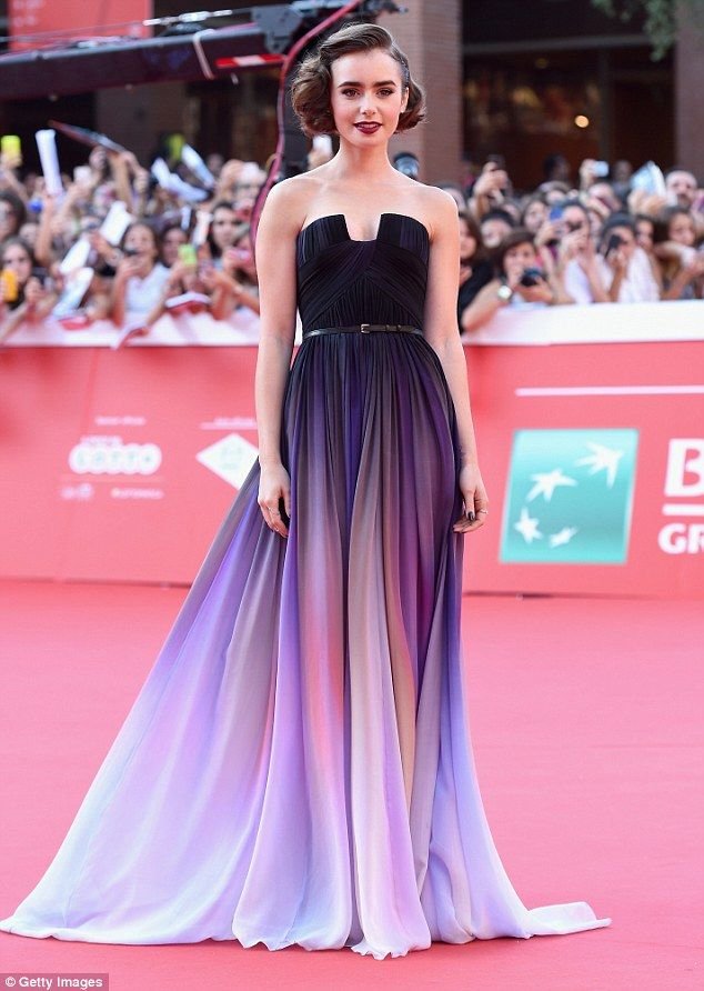 Lily Collins looks majestic in purple dress at Love, Rosie premiere ...