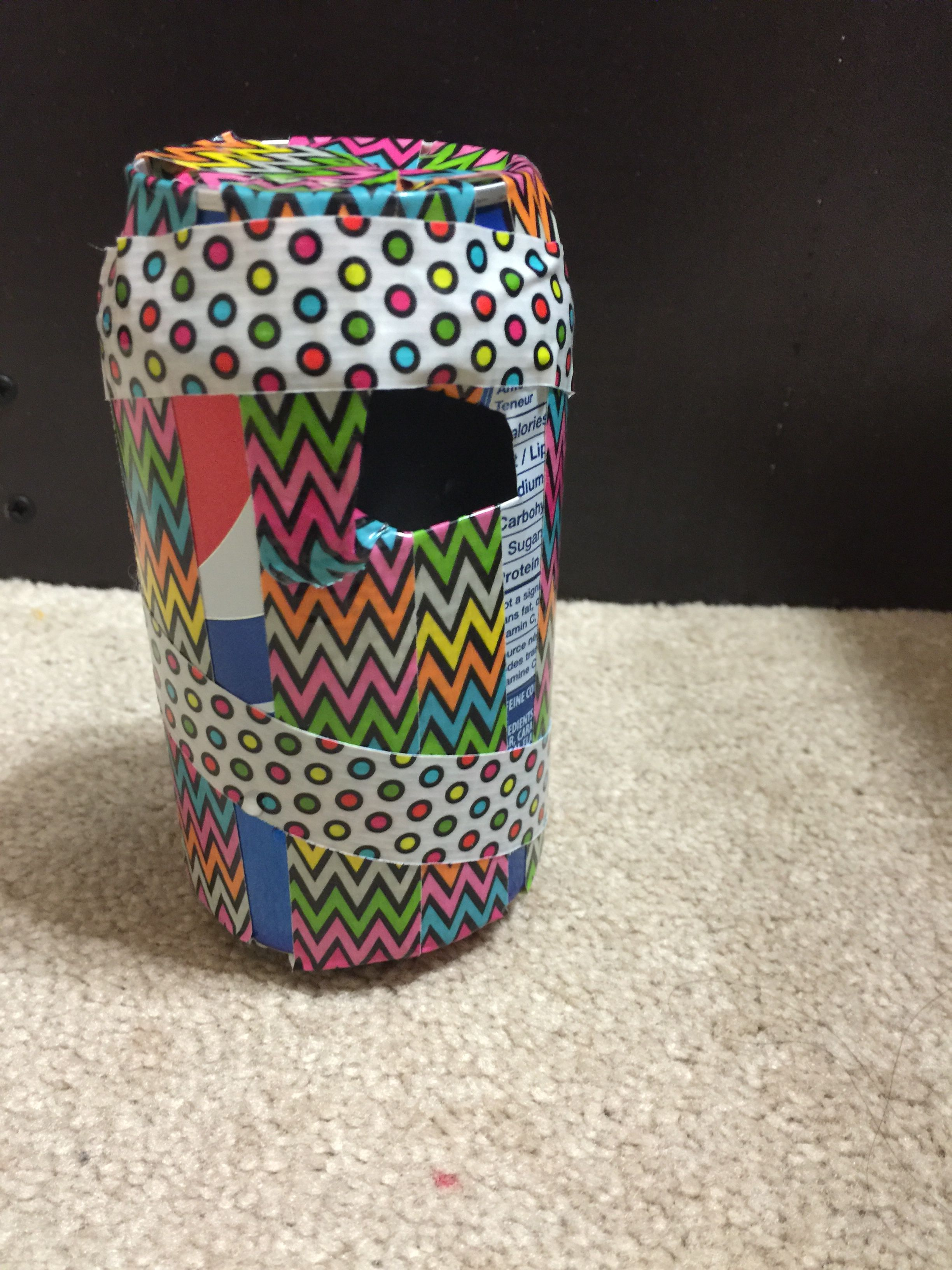 Pop can piggy bank. step one ,get a pop can. step two ,cut it as big as you want the hole to be so your money can fit in it ,step three  decorate it with washy tape and there you have your quick and easy piggy bank