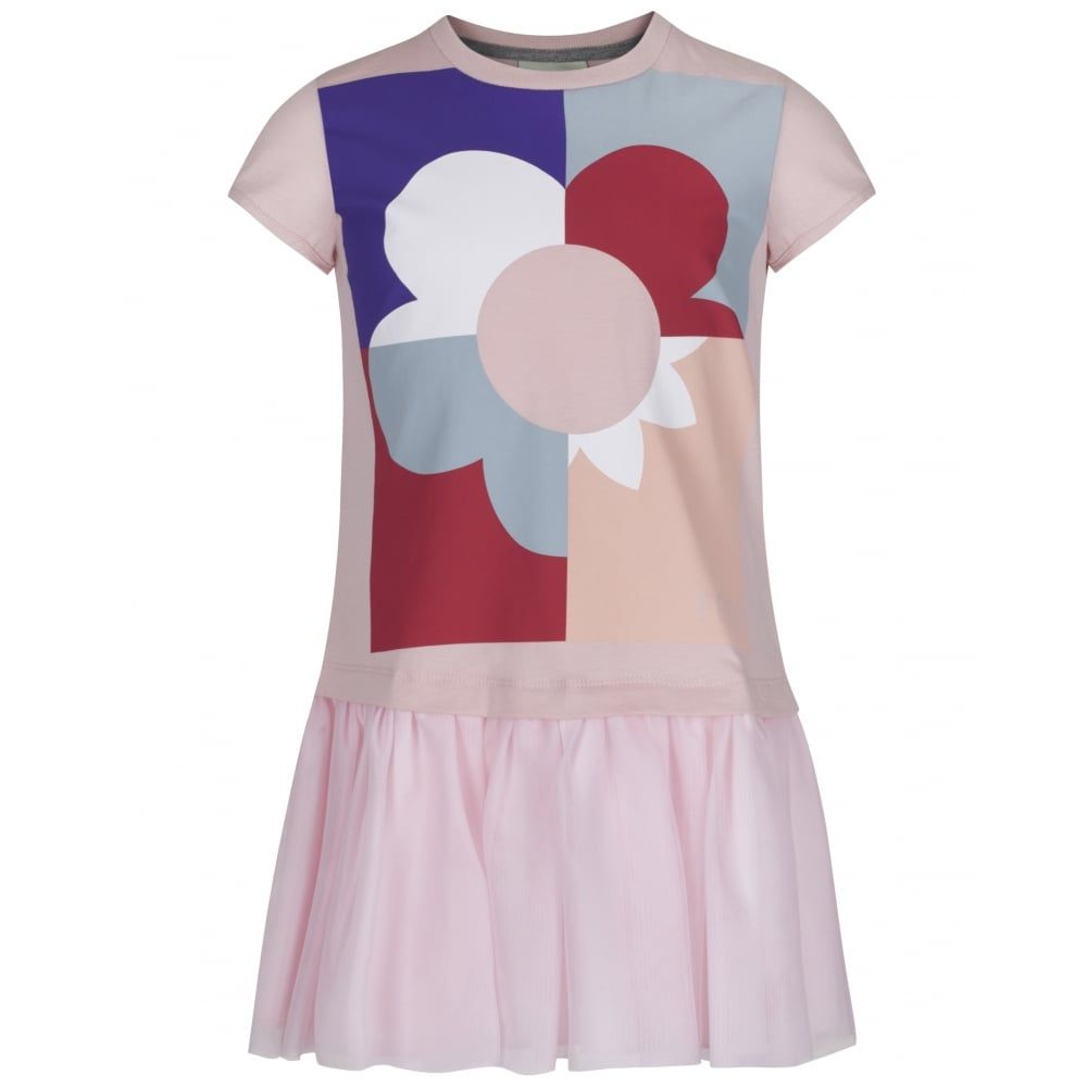 fendi girls pink jersey dress with multicoloured flower print