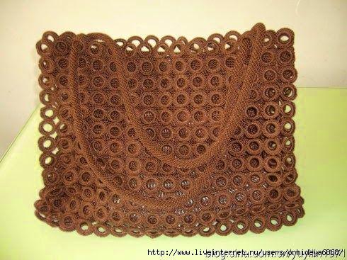 Irish crochet &: Ажурная сумка из колец   Сумки   Pinterest