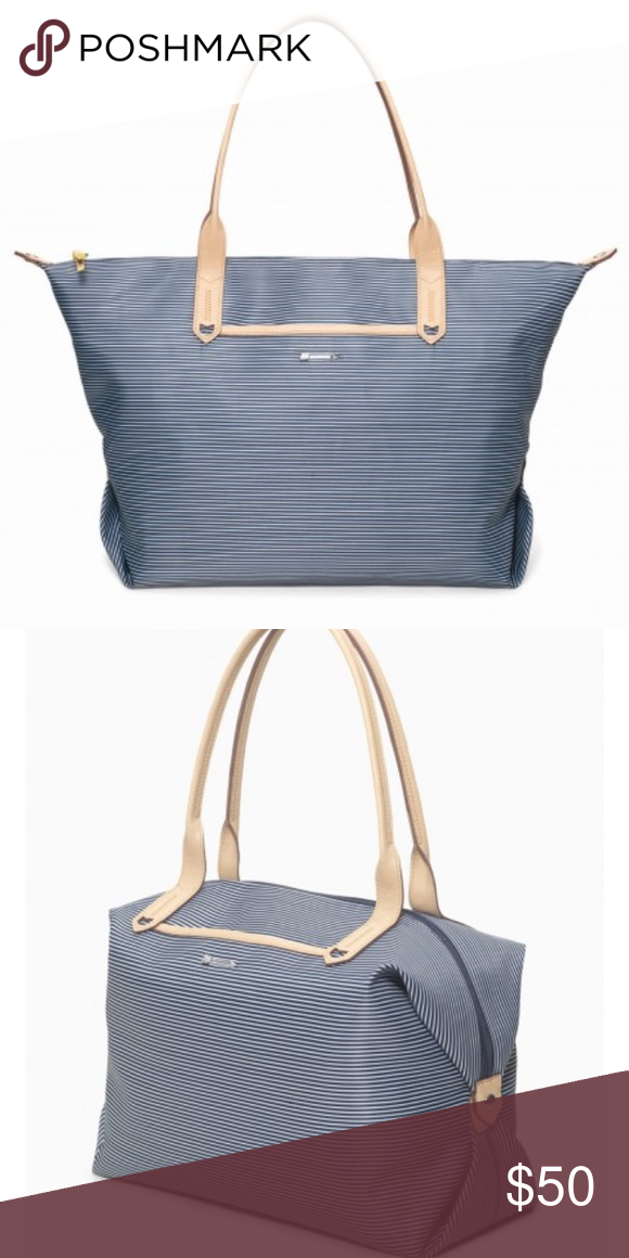 Stella And Dot Large Tote How Does She Do It Navy Breton