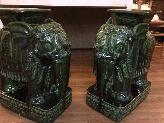 Pair of Vintage Asian Ceramic Elephants by HOSTAANDCO on Etsy