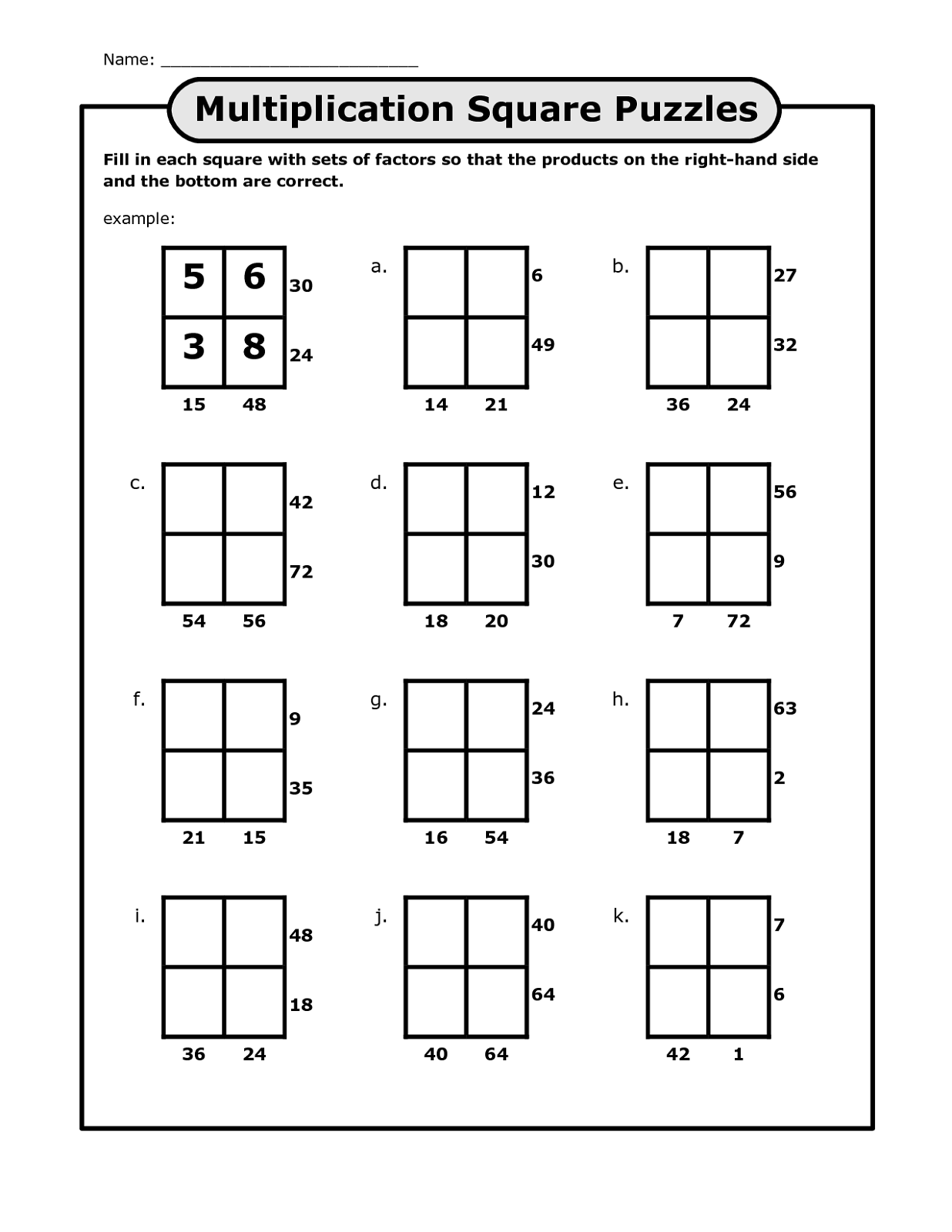 Math Puzzles Printable For Learning In