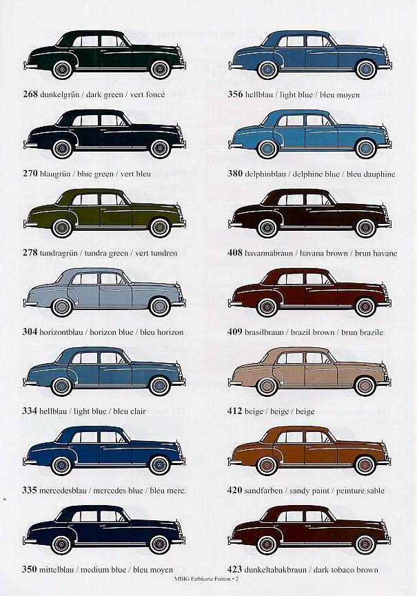 Mercedes Benz Ponton Paint Codes Color Charts C Www Mbzponton Org